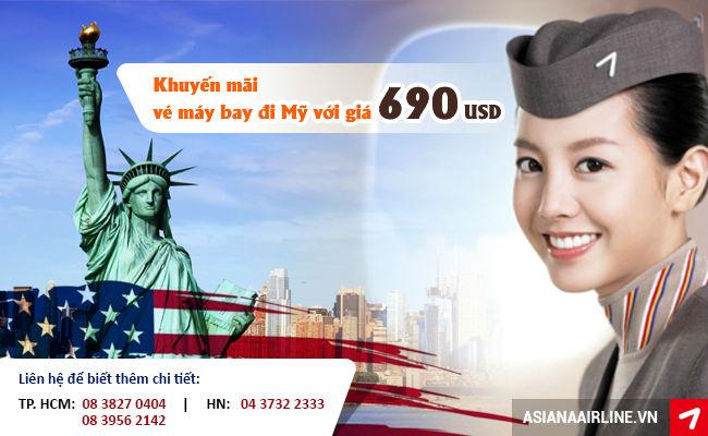 Vé máy bay đi Mỹ hãng Asiana Airlines khuyến mãi