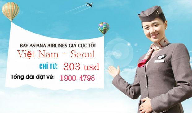 Vé máy bay đi Seoul Asiana Airlines giá rẻ